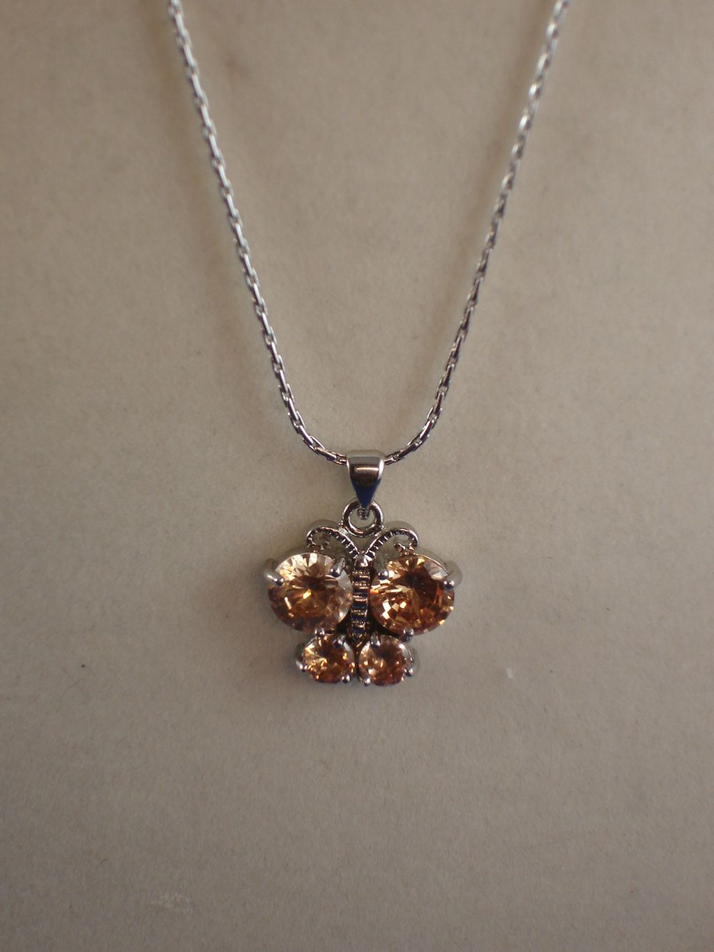 "Topaz Cubic Zirconia Butterfly NeckLace, CZ Crystals, Sterling Silver Plated 16"" Chain, Anti-allergic Jewelry"