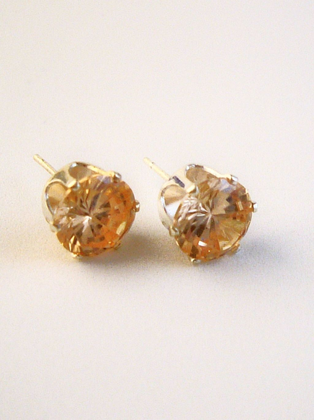 Topaz Round Cut Silver Stud Earrings Genuine CZ Cubic Zirconia