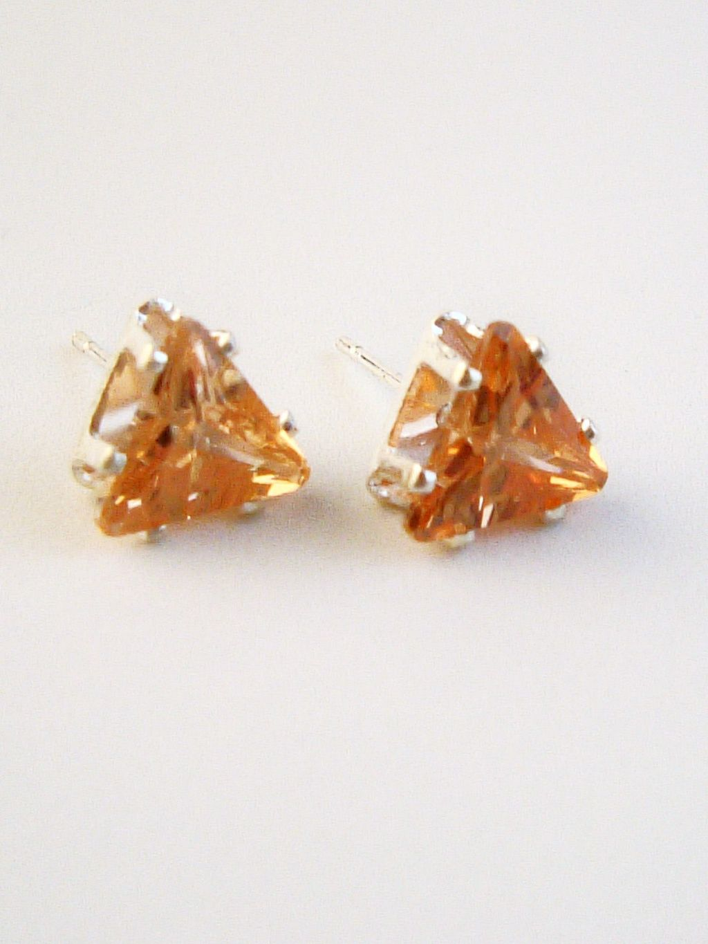 Topaz Triangle Cut Silver Stud Earrings Genuine CZ Cubic Zirconia