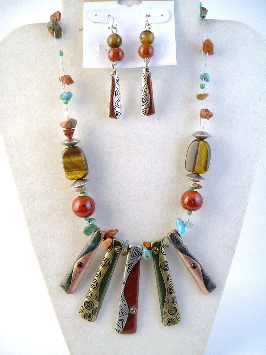 Tri-tone Tiger Eye Turquoise Pin Charm Necklace Earrings Jewelry Set