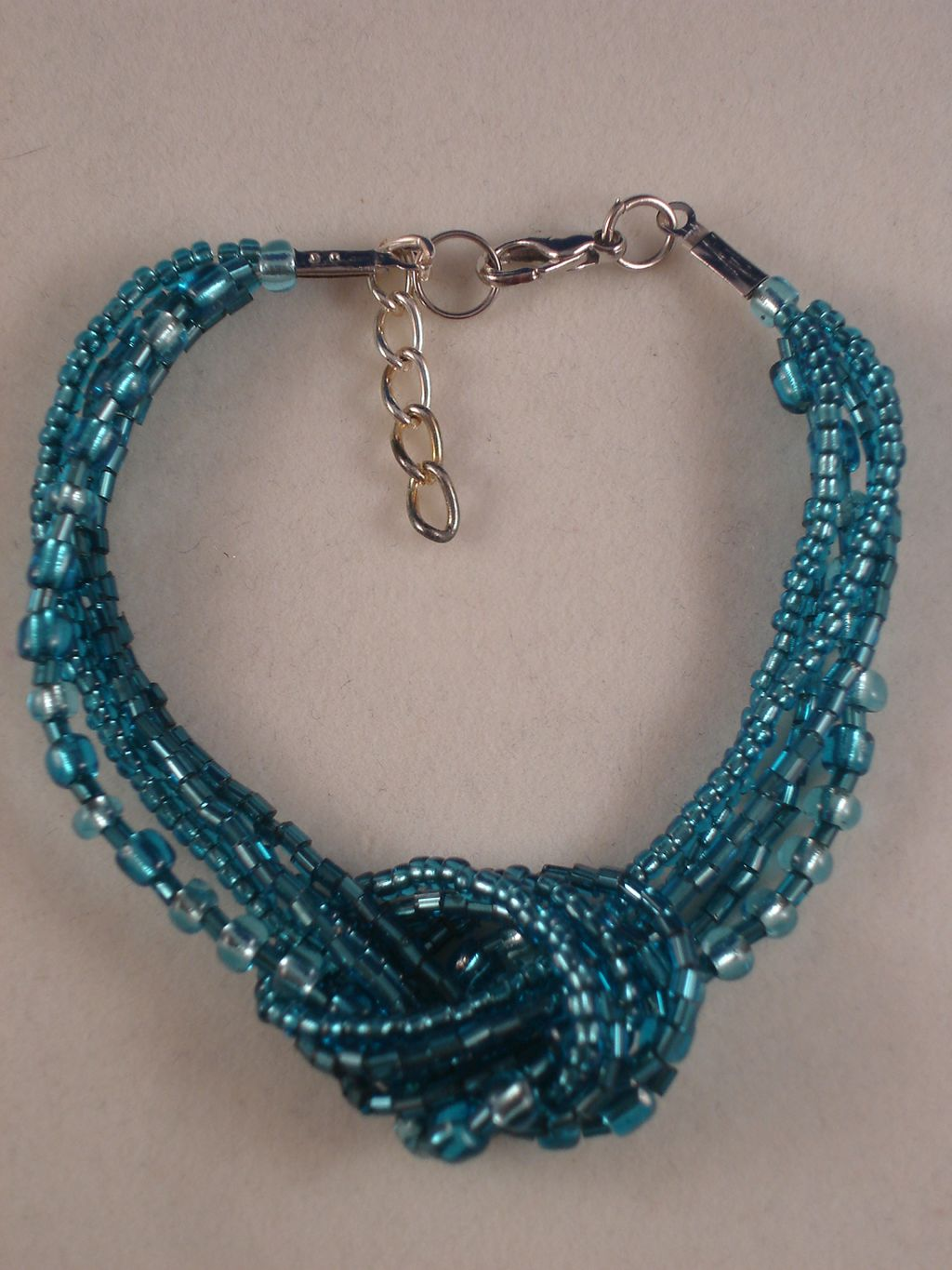 Turquoise Blue Beads Contemporary Knot Bracelet