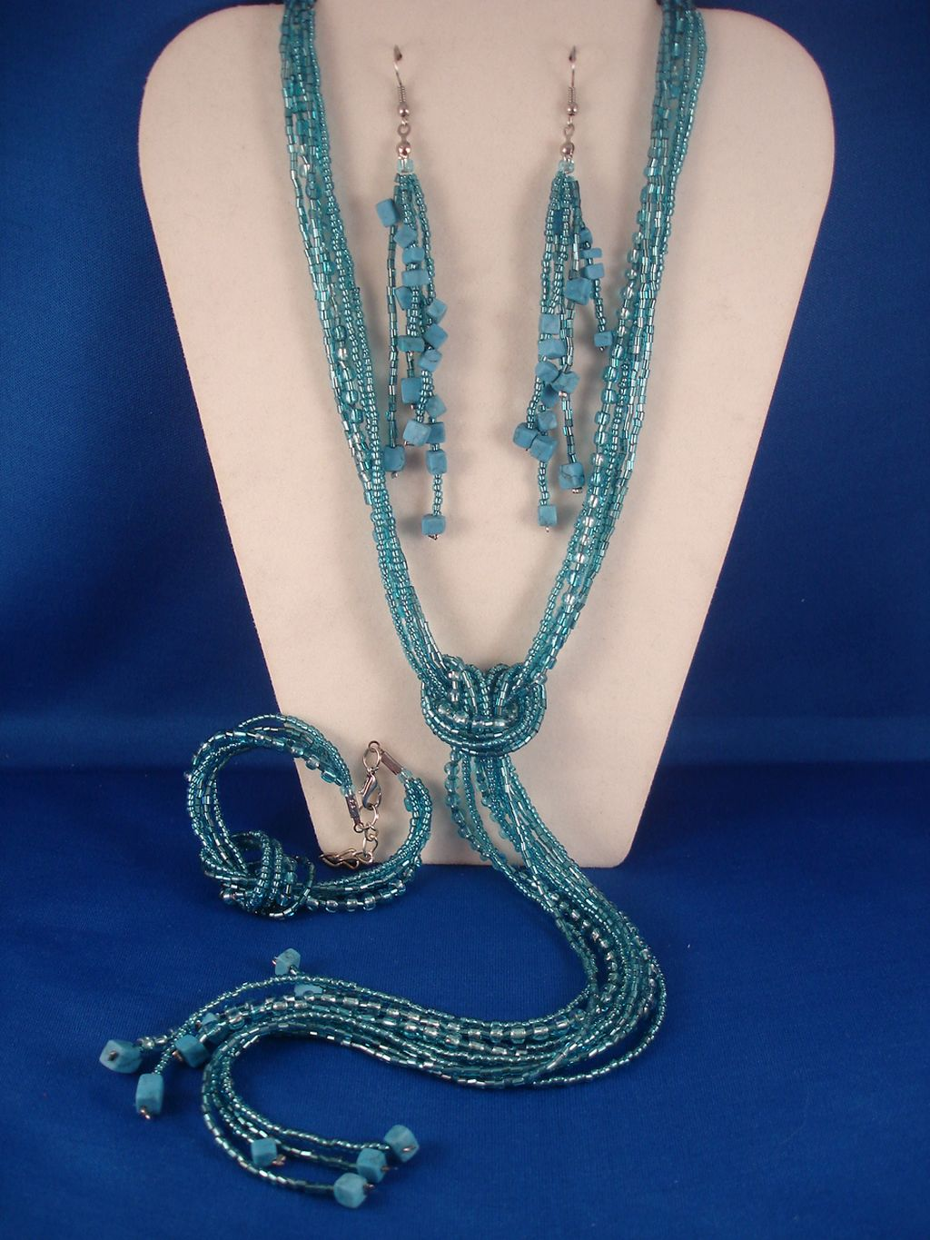 Turquoise Blue Beads & Genuine Stones Contemporary Jewelry Set of Necklace, Bracelet & Earrings
