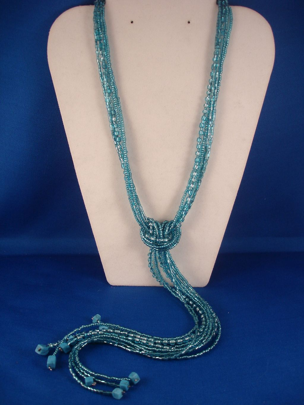 Turquoise Blue Beads & Genuine Stones Contemporary Knot Necklace
