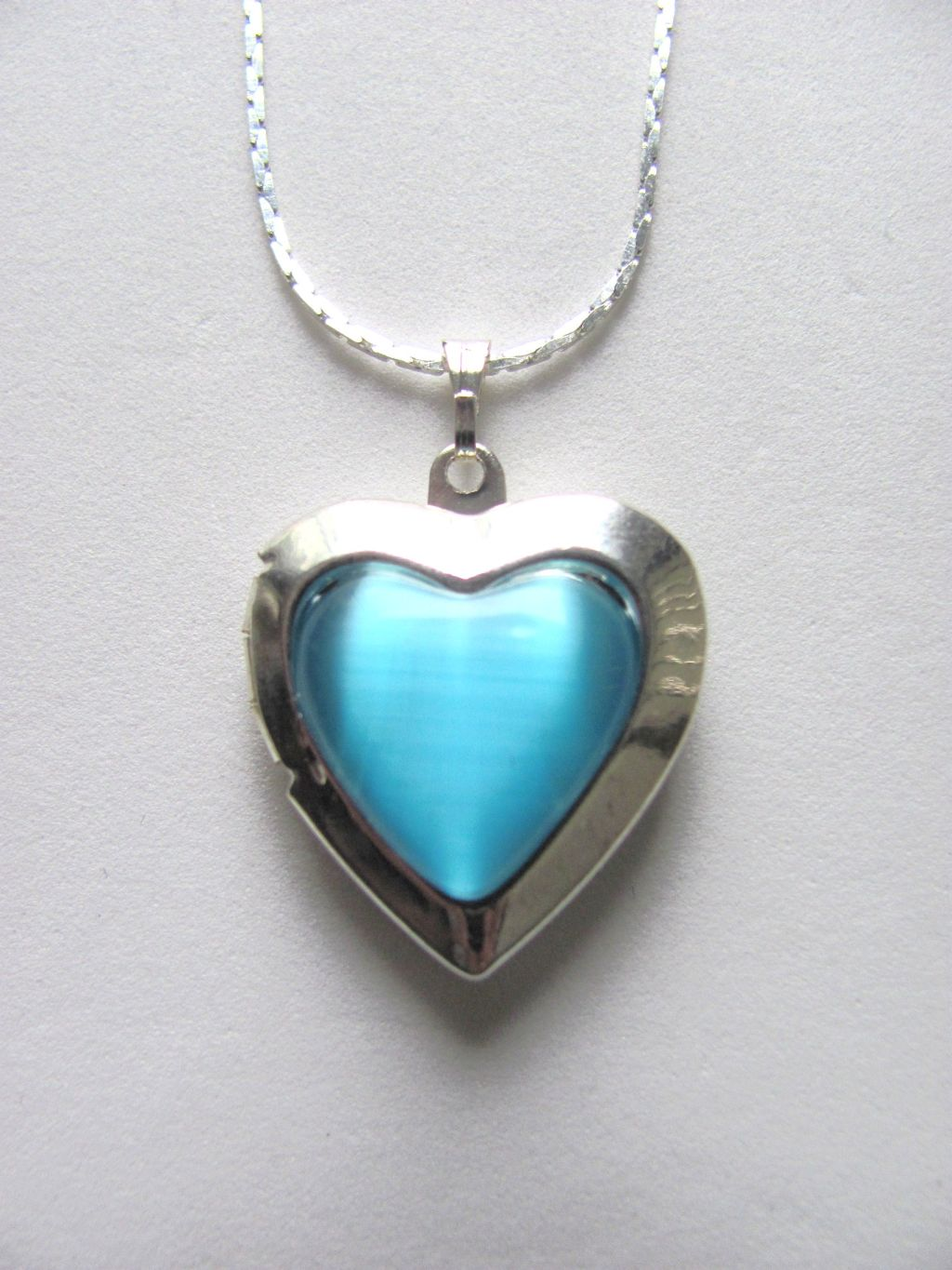 Turquoise Blue Heart Locket Photo Pendant Necklace, Silver Tone