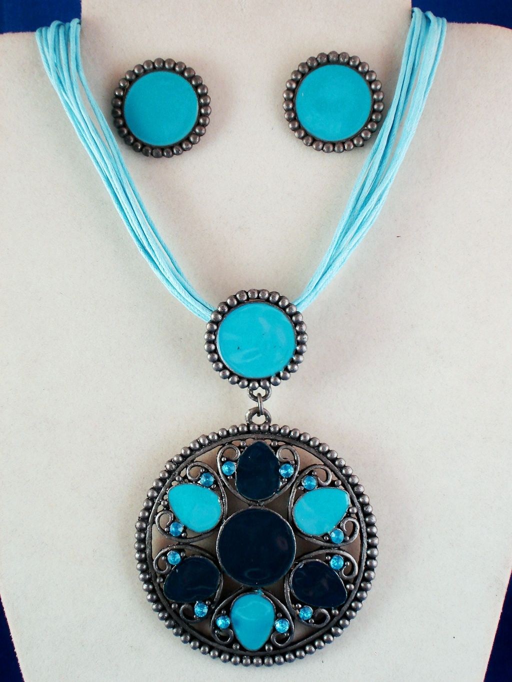 Turquoise Circle Filigree Set of Pendant Necklace & Earrings, Flower w/ Crystals, Classic Style, Cotton Cord, European Fashion Jewelry