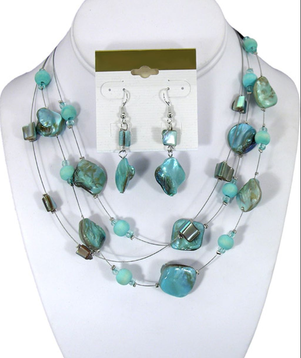 Turquoise Color Set of Necklace & Earrings, Three Strings of Mother of Pearl, Anti-allergic Jewelry