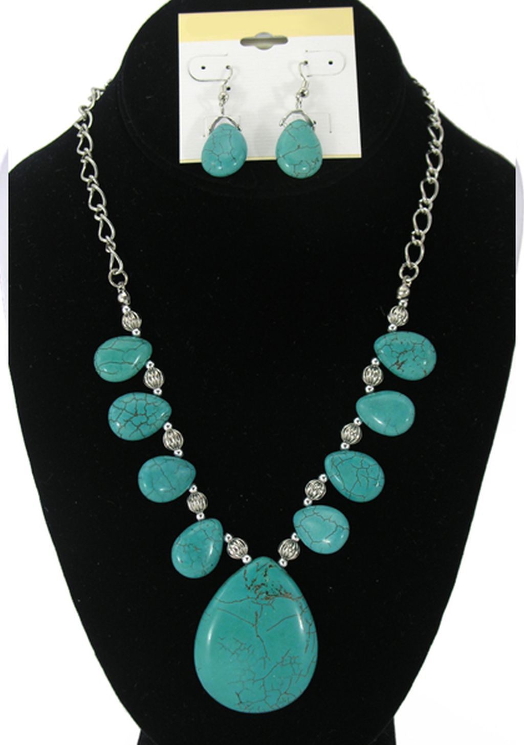 Turquoise Genuine Stones, Large Pendant, Set of Necklace & Earrings, Anti-allergic Metal Chain & Beads
