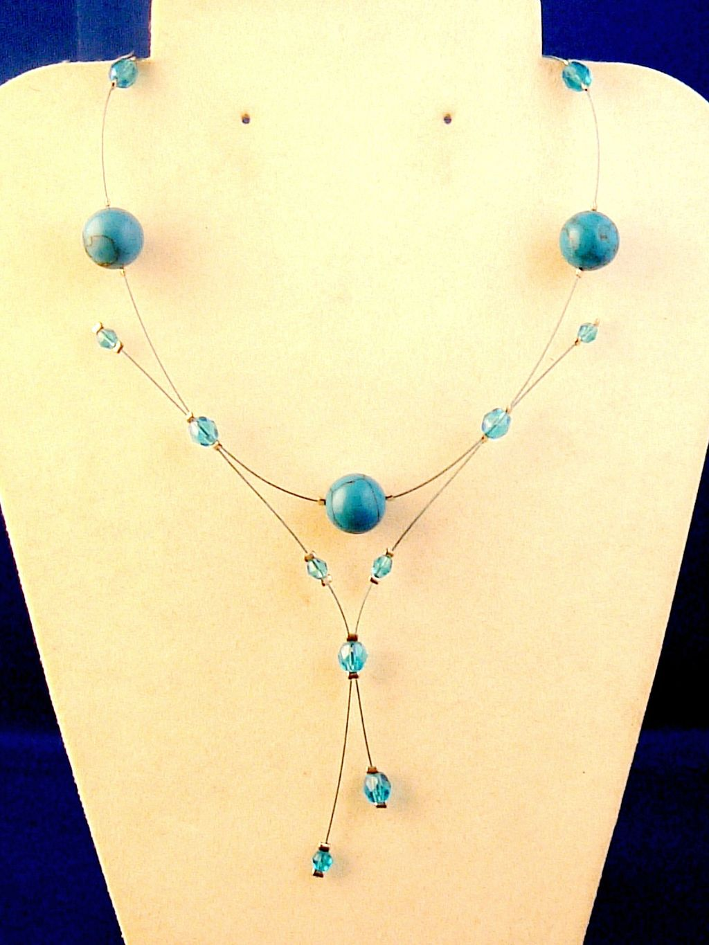 Turquoise / Sky Blue Ball Stones & Beads Necklace, Tiny Metal Cord, European Fashion Jewelry