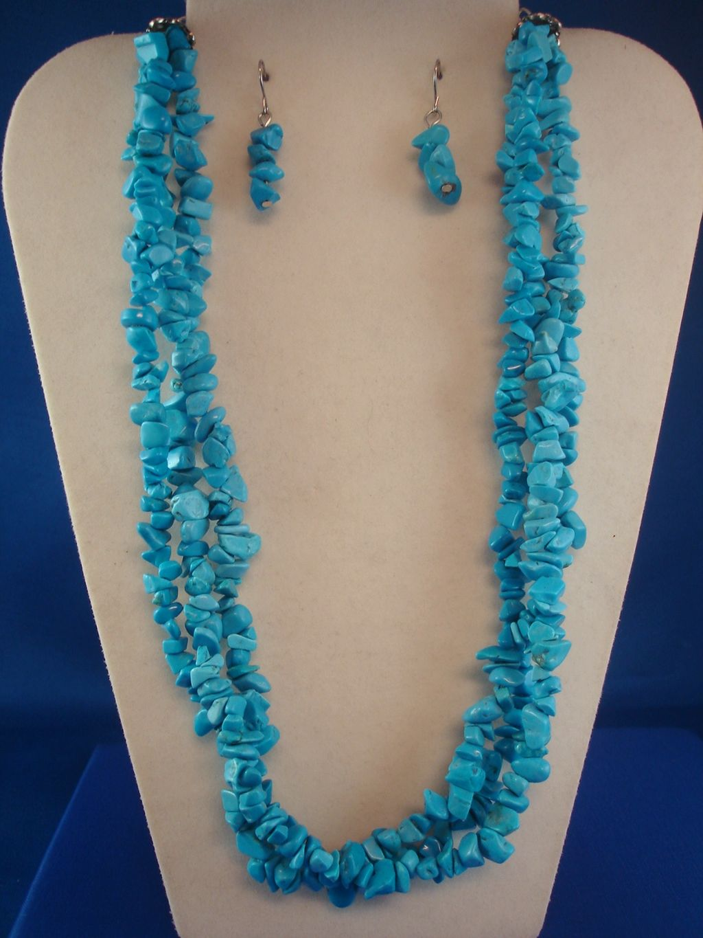 Turquoise / Sky Blue Tone Set of Necklace & Earrings, Three Strings Genuine Stones, Anti-allergic Jewelry