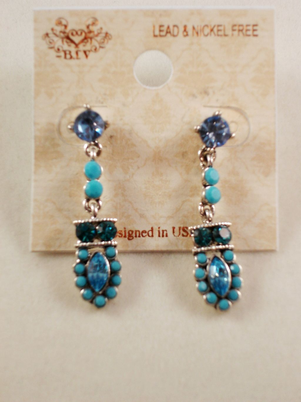 Turquoise Tone Dangling Post Earrings, CZ Cubic Zirconia Stones, Anti-allergic Jewelry