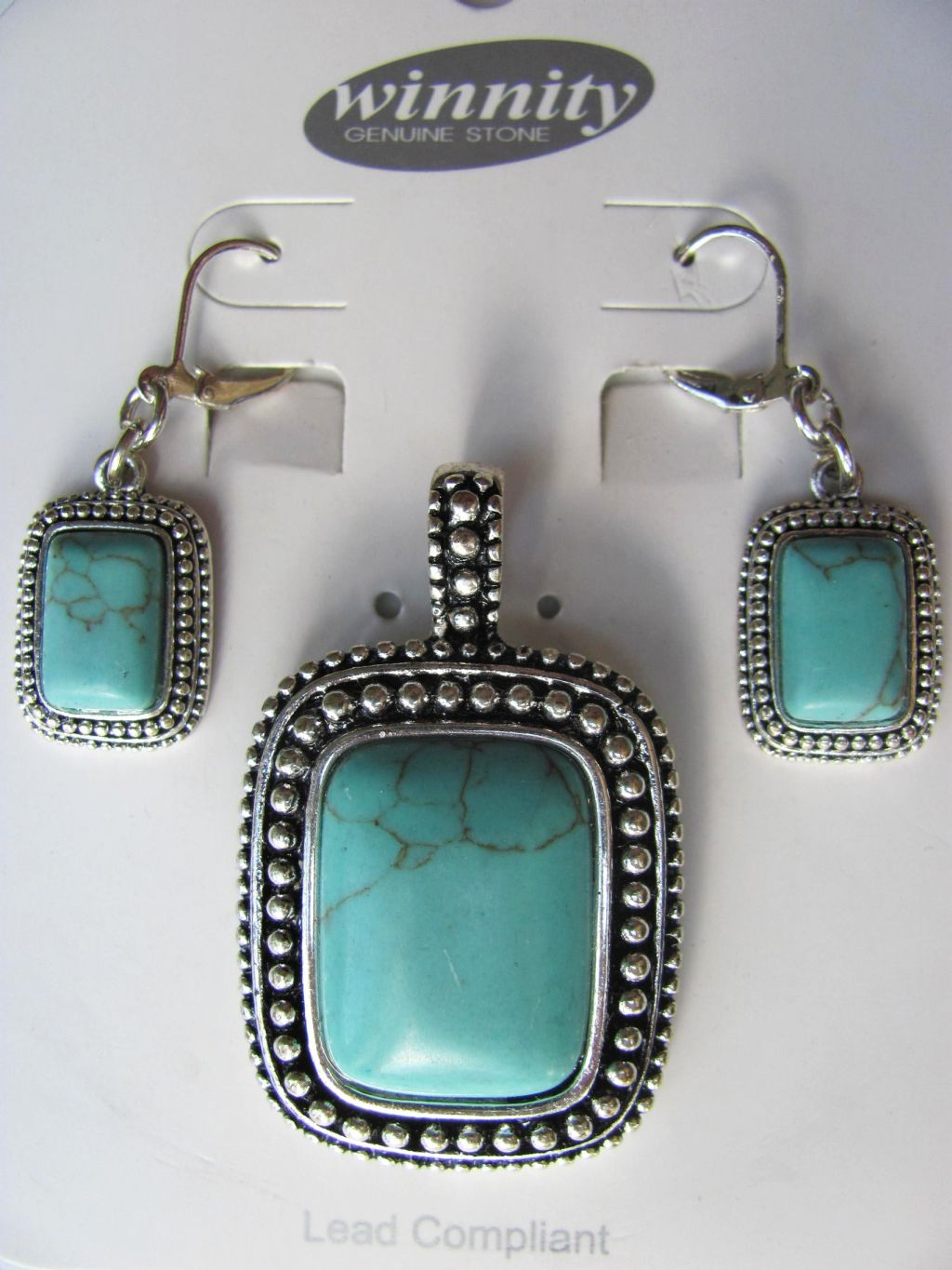 Turquoise Vintage Rectangle Pendant Earrings Set, Genuine Stone