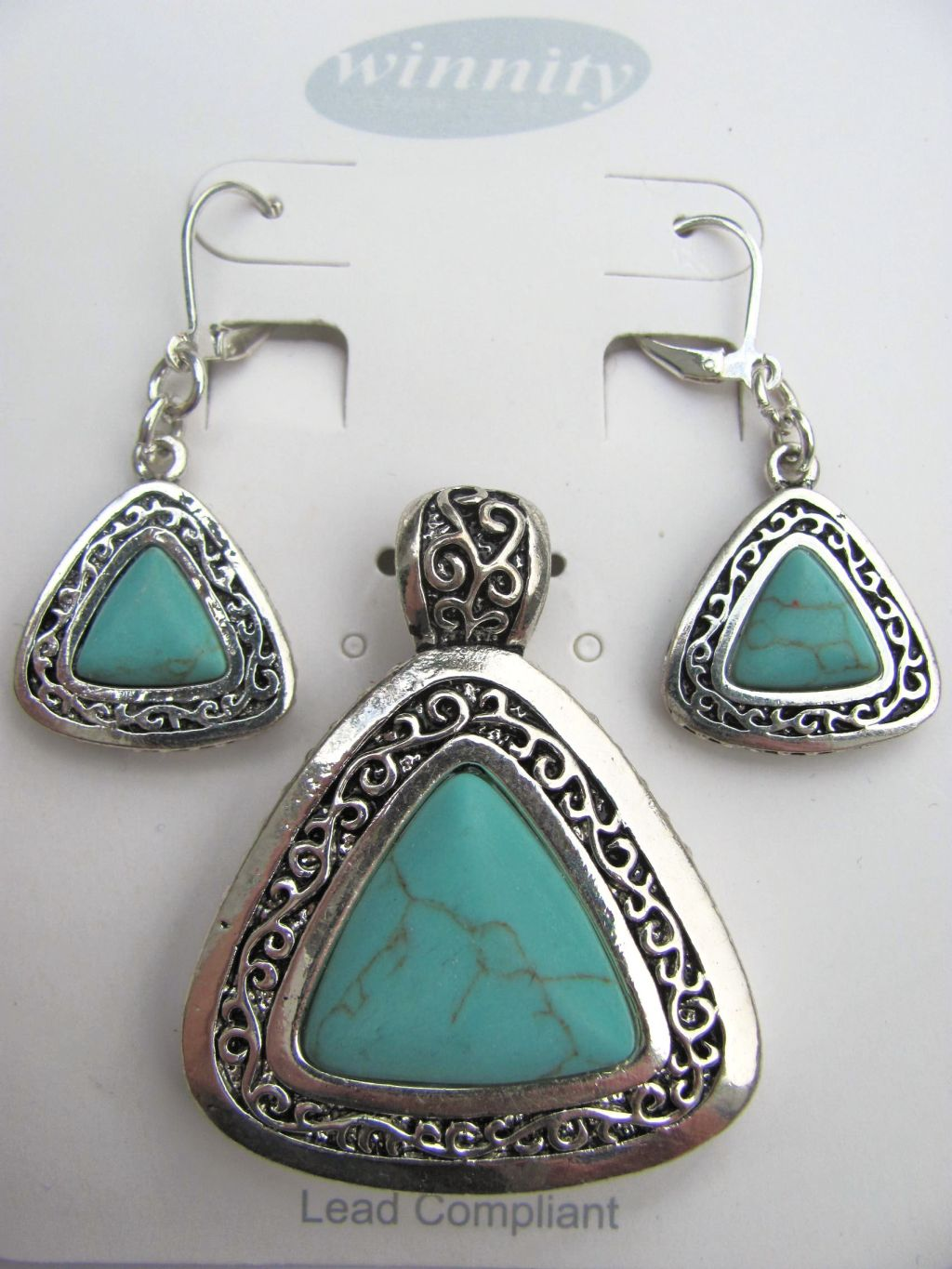 Turquoise Vintage Triangle Pendant Earrings Set, Genuine Stone