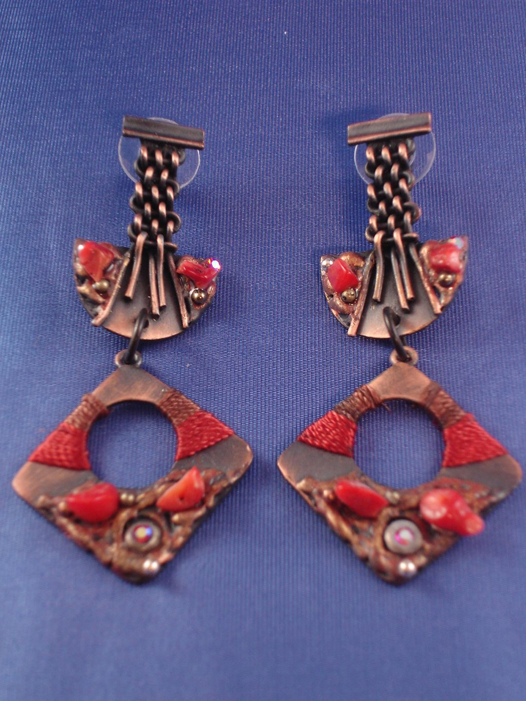 Two Pieces Red w/Copper Drop Shape Post Dangling Earrings, Anti-allergic Jewelry