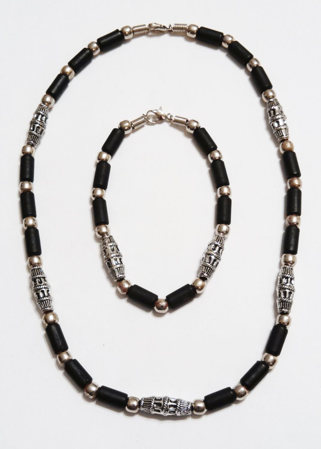 Aruba Two-Tone Chrome Black Beach Beaded Necklace Bracelet, Surfer Choker Men's Jewelry