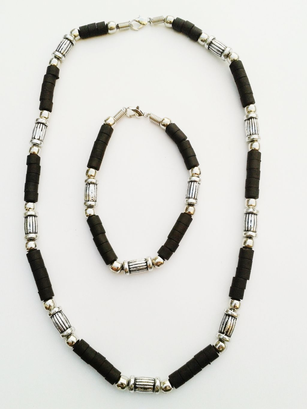 Key West Two-Tone Chrome Black Beach Beaded Necklace Bracelet, Surfer Choker Men's Jewelry