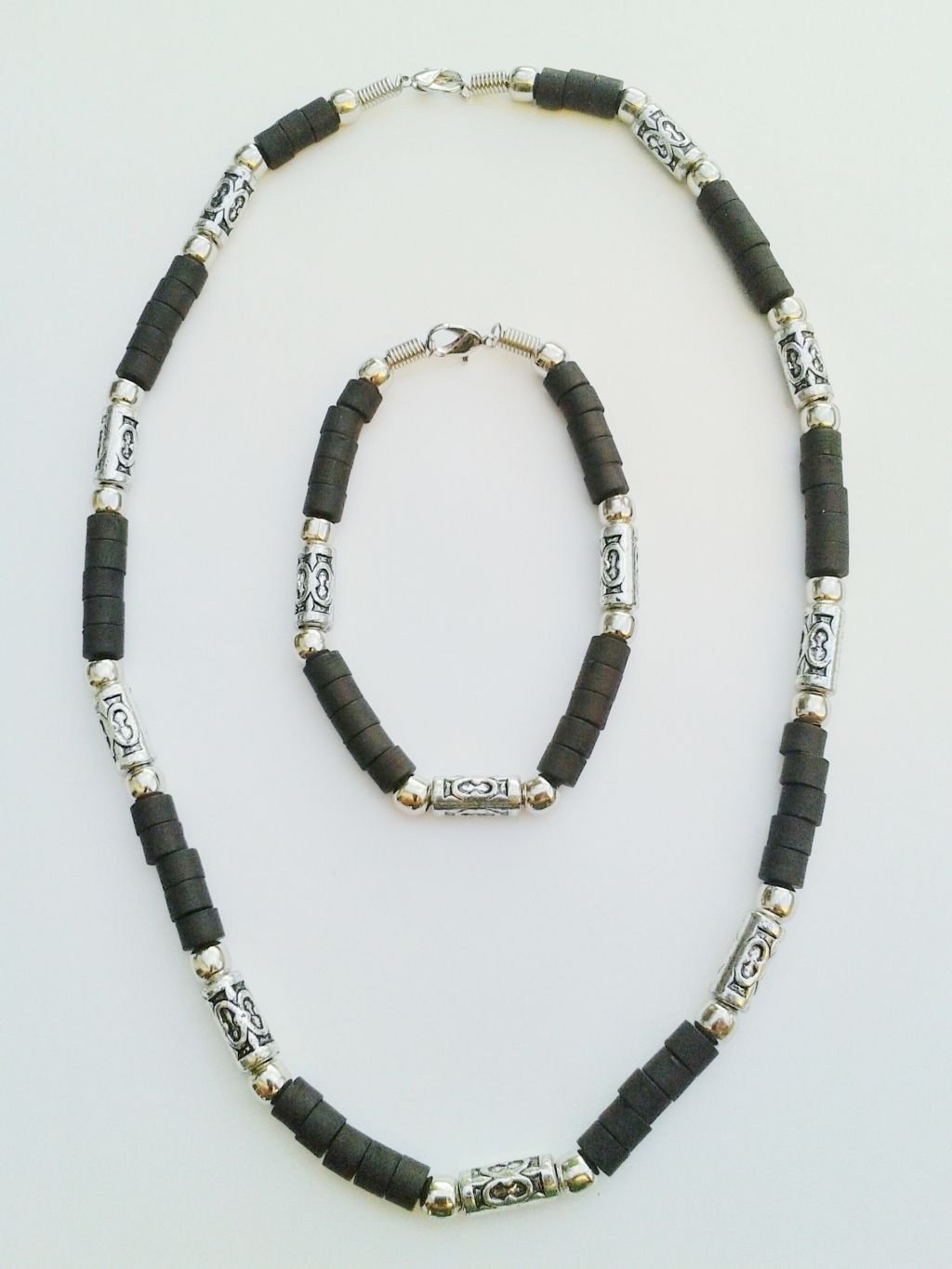 Jamaica Two-Tone Chrome Black Beach Beaded Necklace Bracelet, Surfer Choker Men's Jewelry