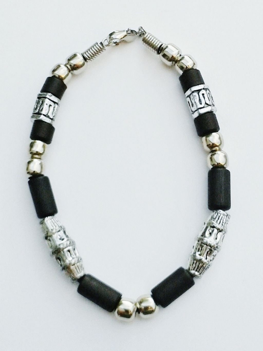 Hawaii Two-Tone Chrome Black Surfer Beaded Bracelet, Men's Beach Jewelry