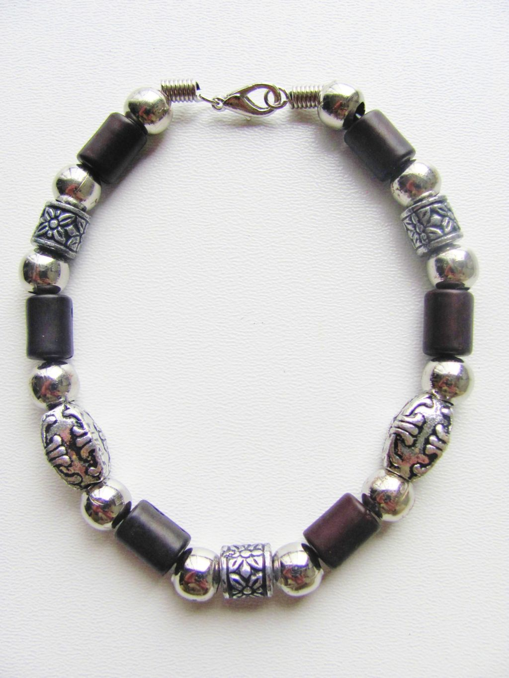 Miami Beach Two-tone Dark Brown Surfer Beaded Bracelet, Men's Jewelry