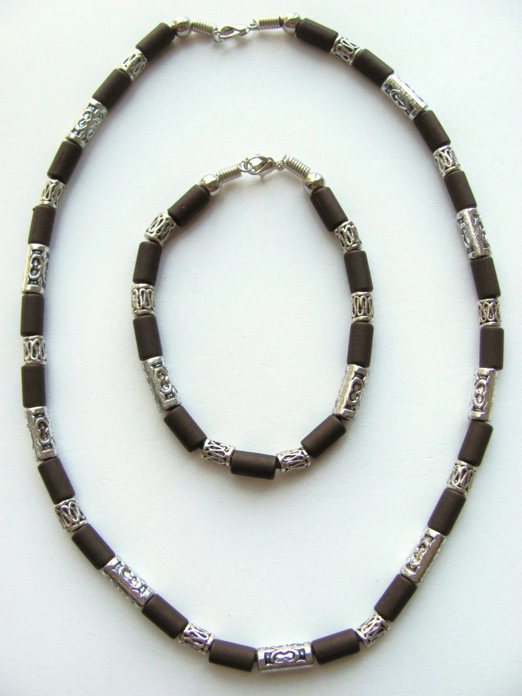 Cocoa Beach Two-tone Dark Brown Surfer Beaded Necklace Bracelet, Men's Beach Jewelry