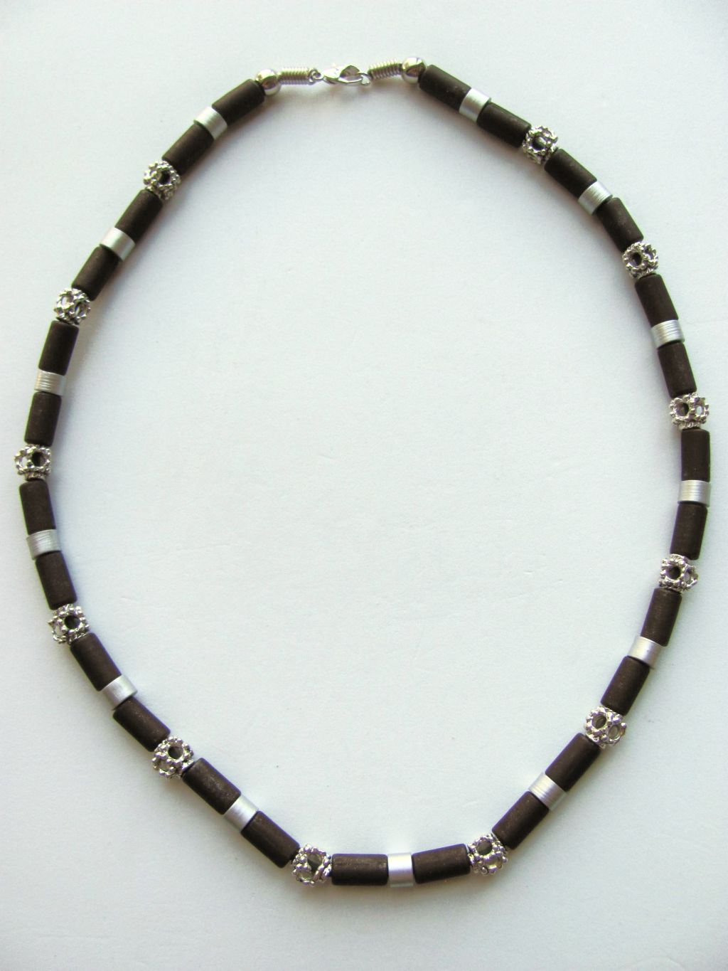 Daytona Beach Two-tone Dark Brown Surfer Beaded Necklace, Men's Beach Jewelry