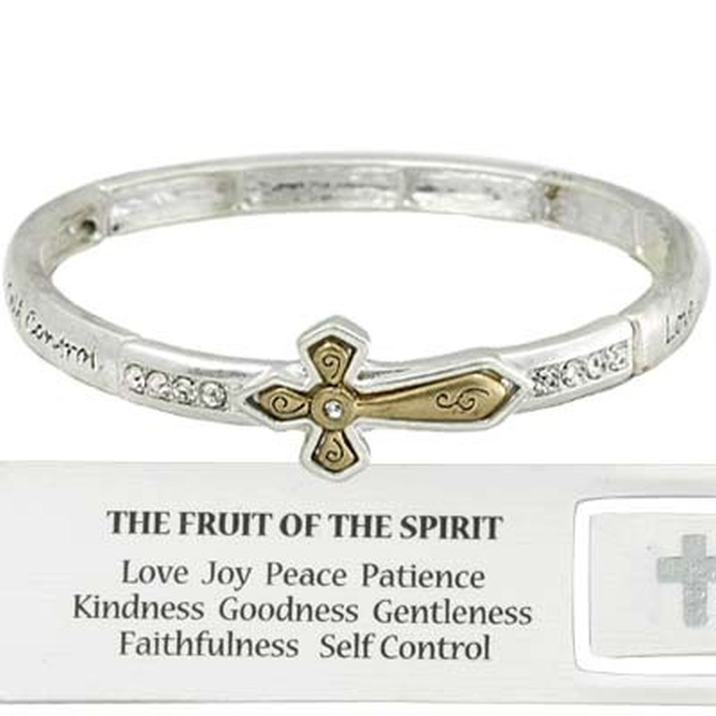 Two-tone Fruit of The Spirit Cross Bracelet CZ Stones, Inspirational Message Silver Bangle