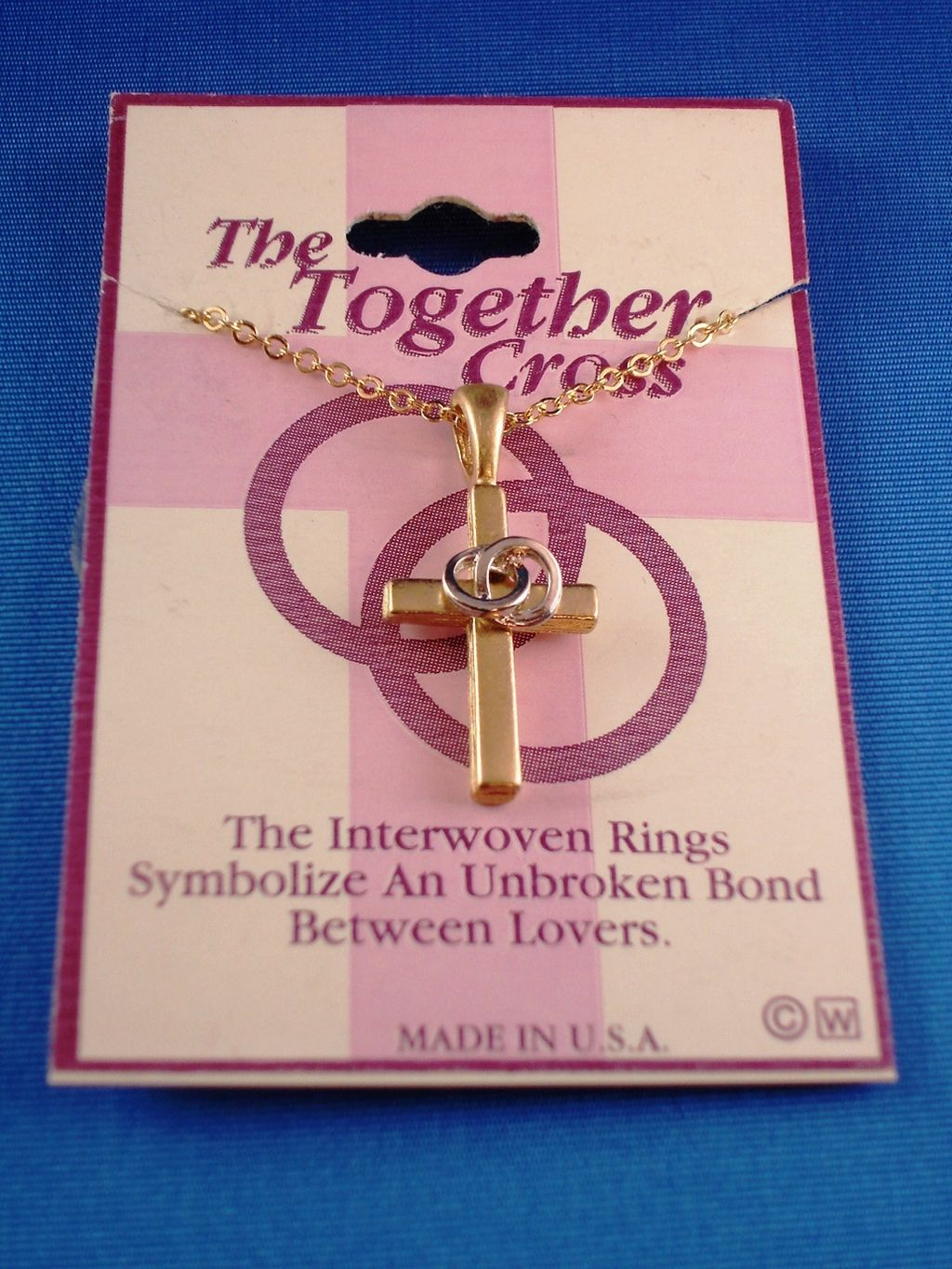 """Unbroken Love Rings"" Cross Pendant Necklace, Gold w/ Silver Rings Tone Metal, 18"" Chain, Anti-allergic Jewelry"