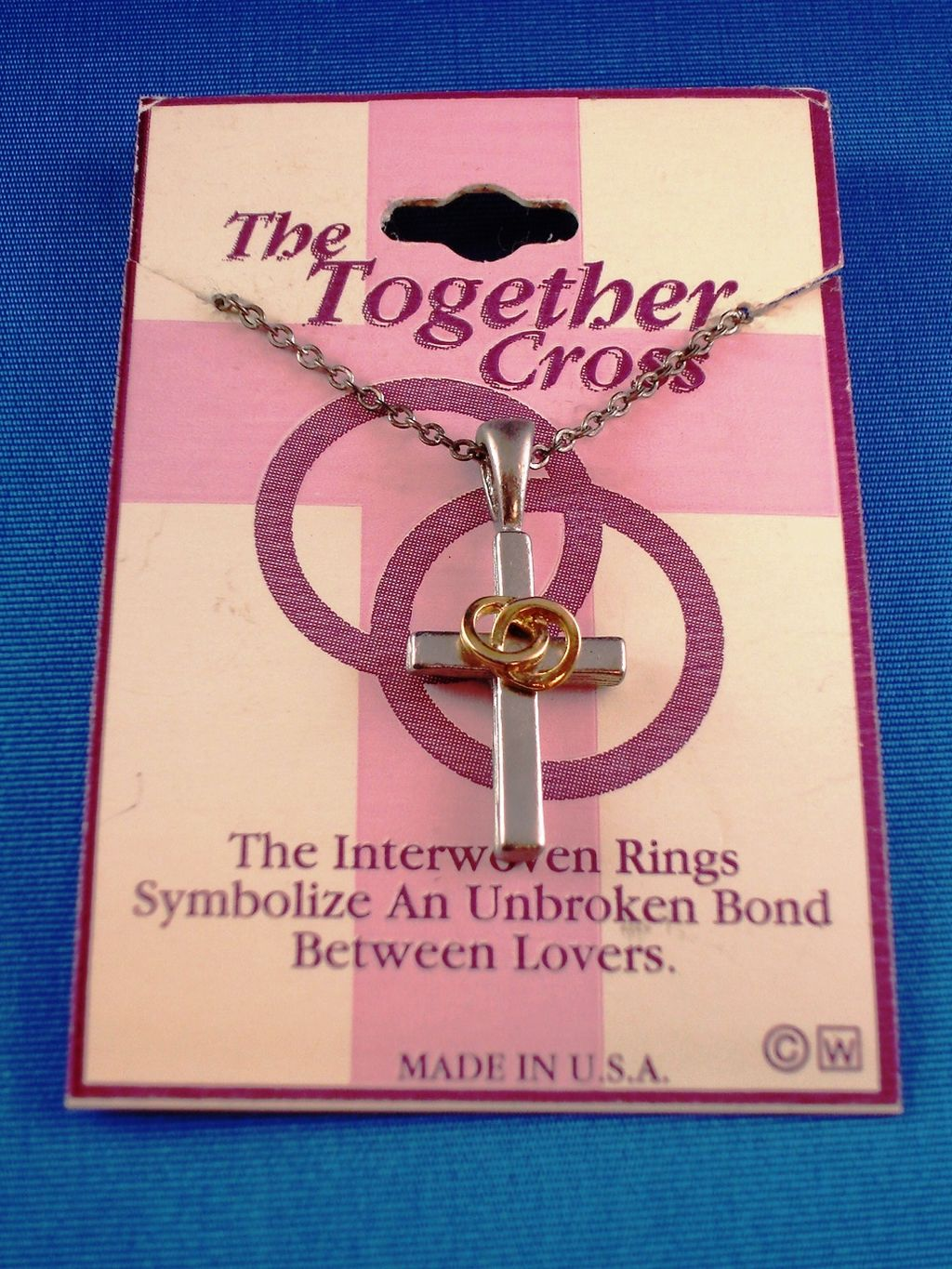 """Unbroken Love Rings"" Cross Pendant Necklace, Silver w/ Gold Rings Tone Metal, 18"" Chain, Anti-allergic Jewelry"