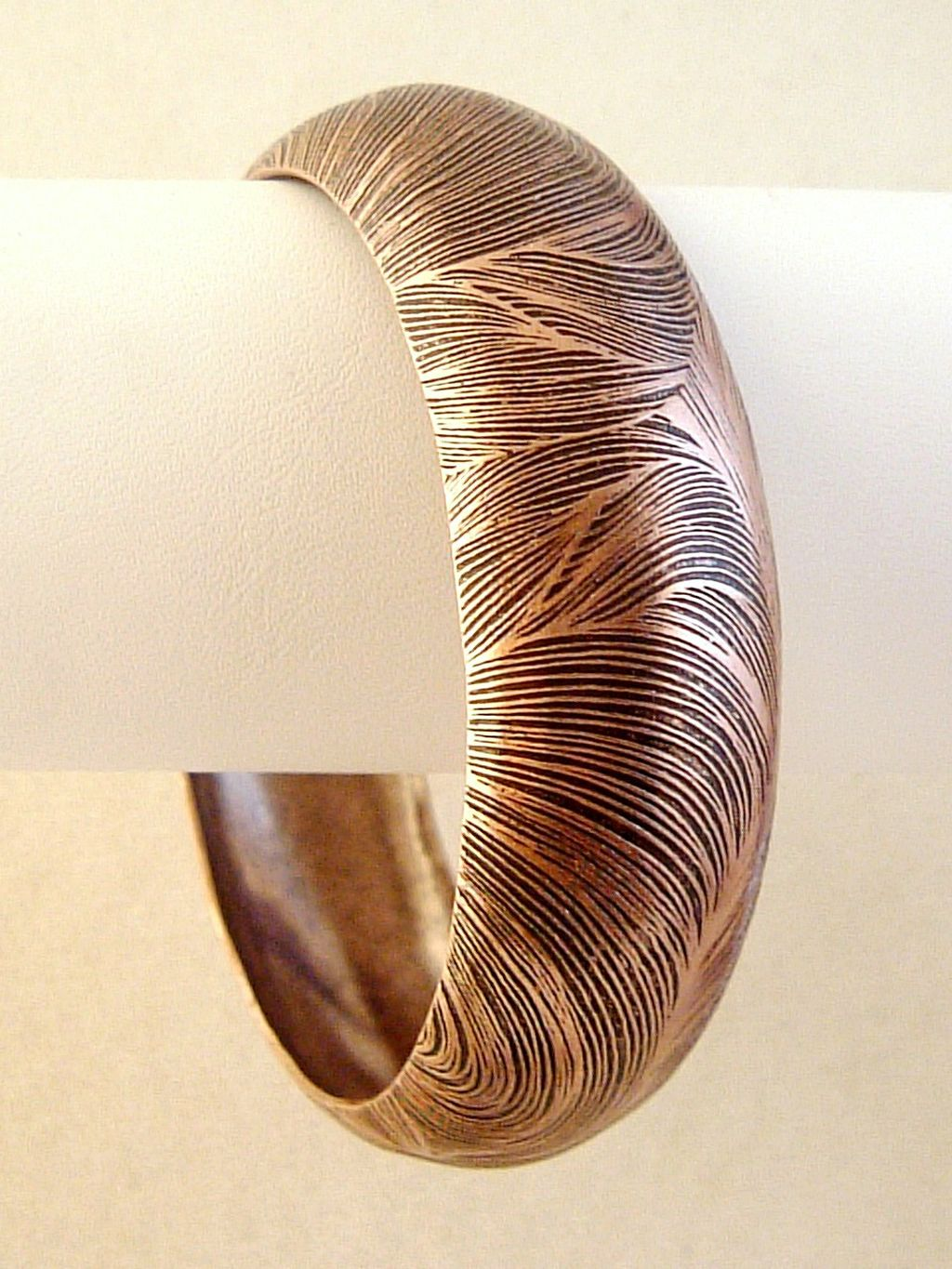 Vintage Style, Bulky Bangle Bracelet w/ Ornament, Copper Finish Metal, Anti-allergic Jewelry