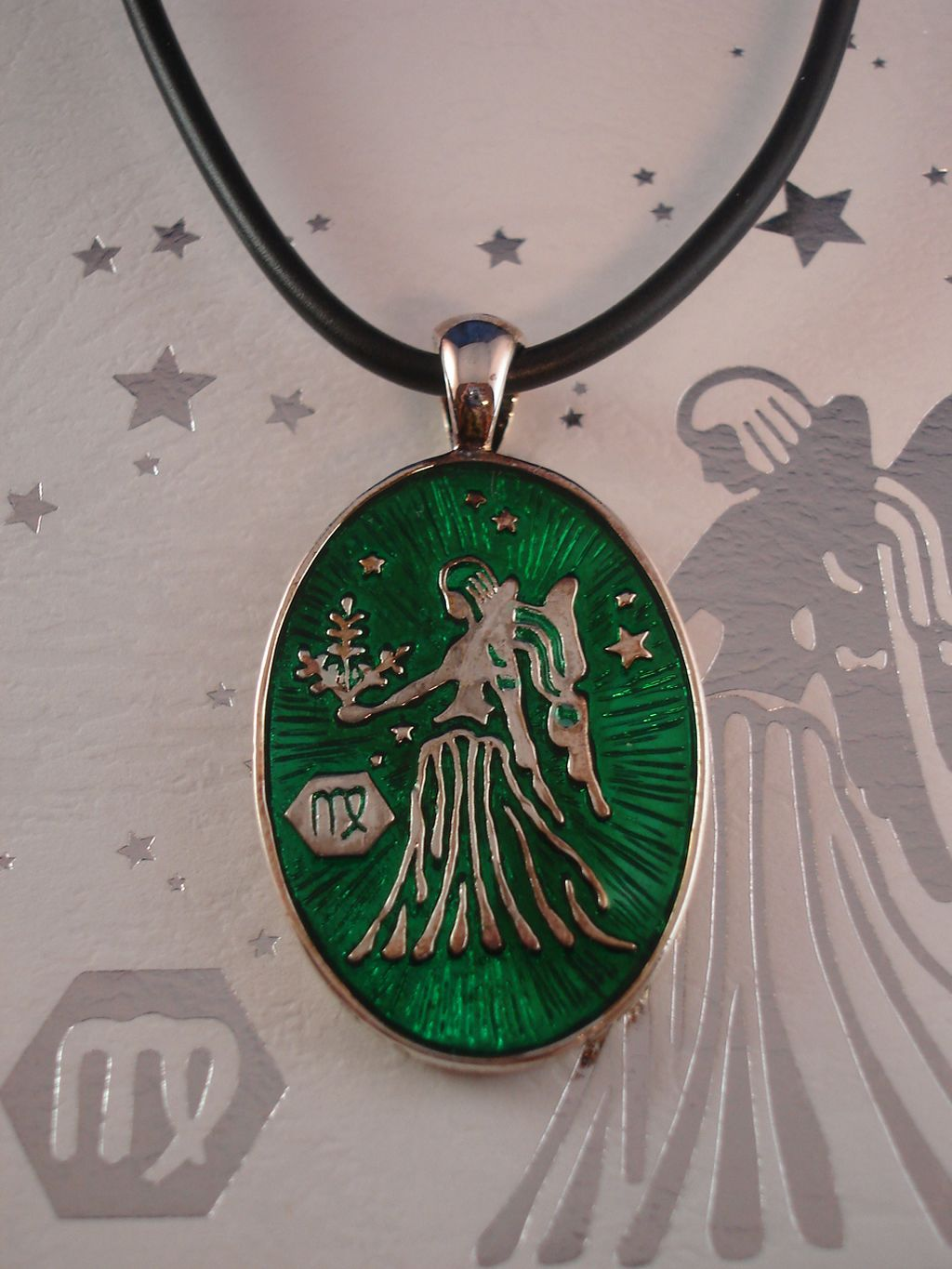 Virgo Symbol Zodiac Sign Necklace, Reversible Metal Pendant w/ Side Engraving
