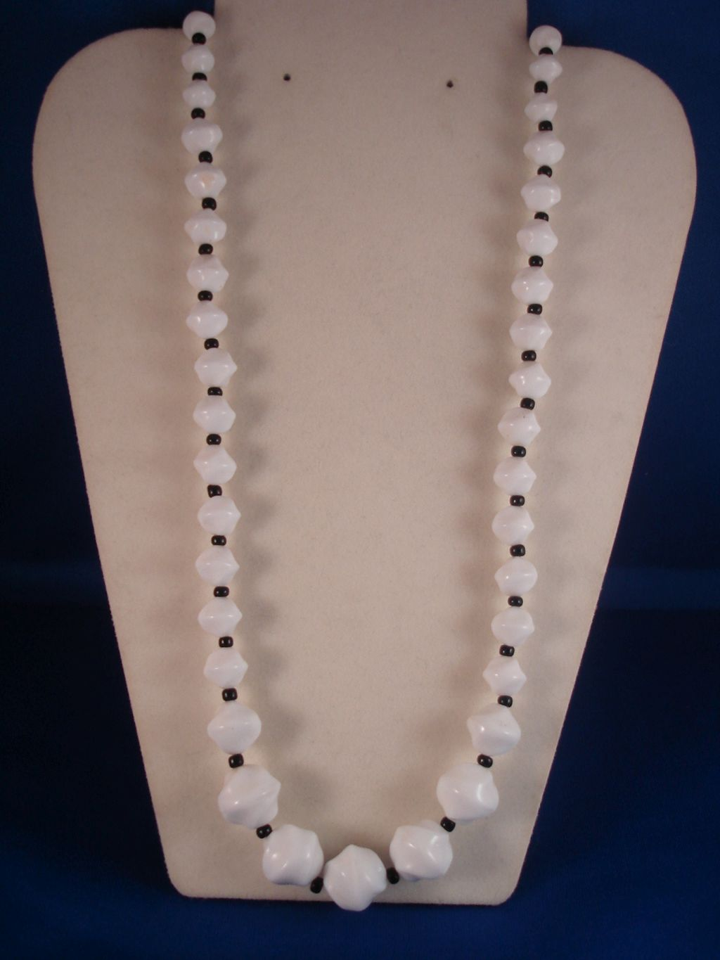"White & Black Beads Necklace, 22"" long, Anti-allergic Jewelry"