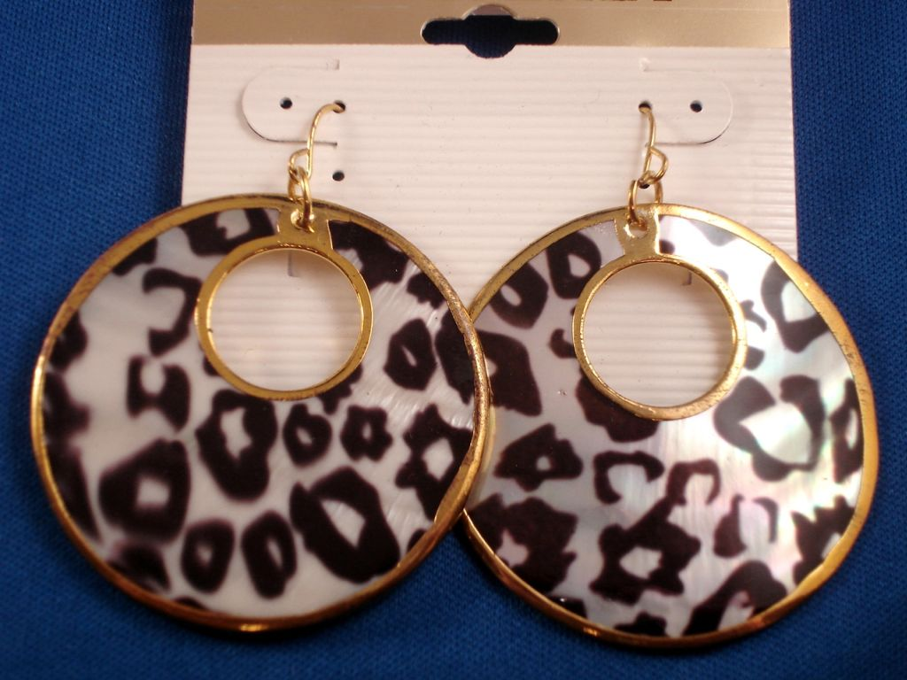 White Tiger Animal Print Genuine Shell Earrings