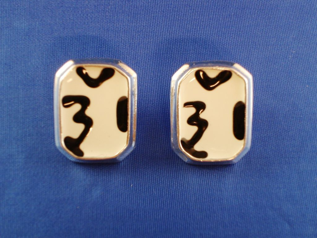 White Tiger Animal Print Square Post Earrings, Silver Tone Anti-allergenic Metal