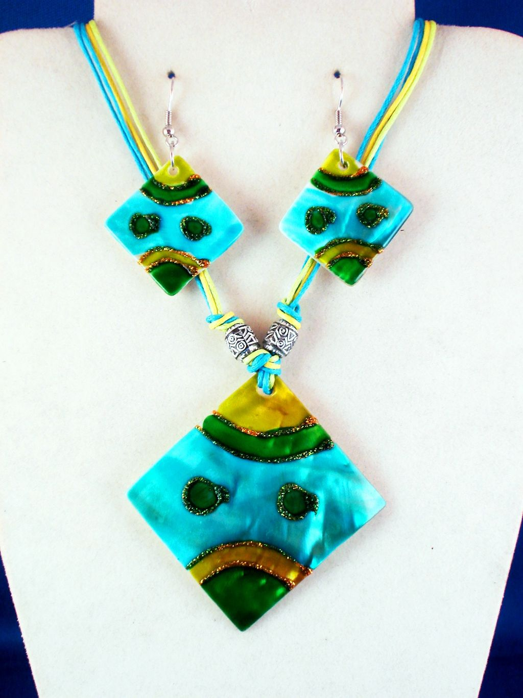 Yellow, Green, Turquoise, Crazy Summer Colors, Genuine Shells Rhomb Pendant Set of Necklace & Earrings, Metal Beads, Cotton Cord, European Fashion Jewelry