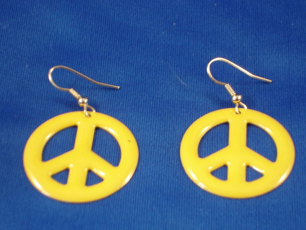 Yellow Peace Earrings, Fashion Jewelry