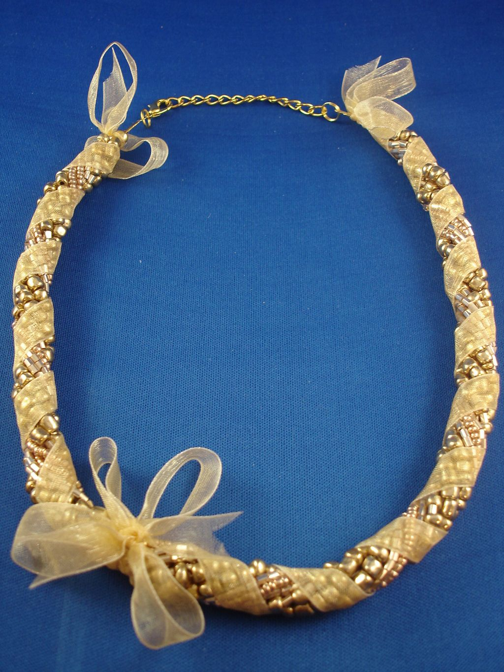 Yellow Ribbon Necklace, Eight Twisted Strings of Beads, European Fashion Jewelry
