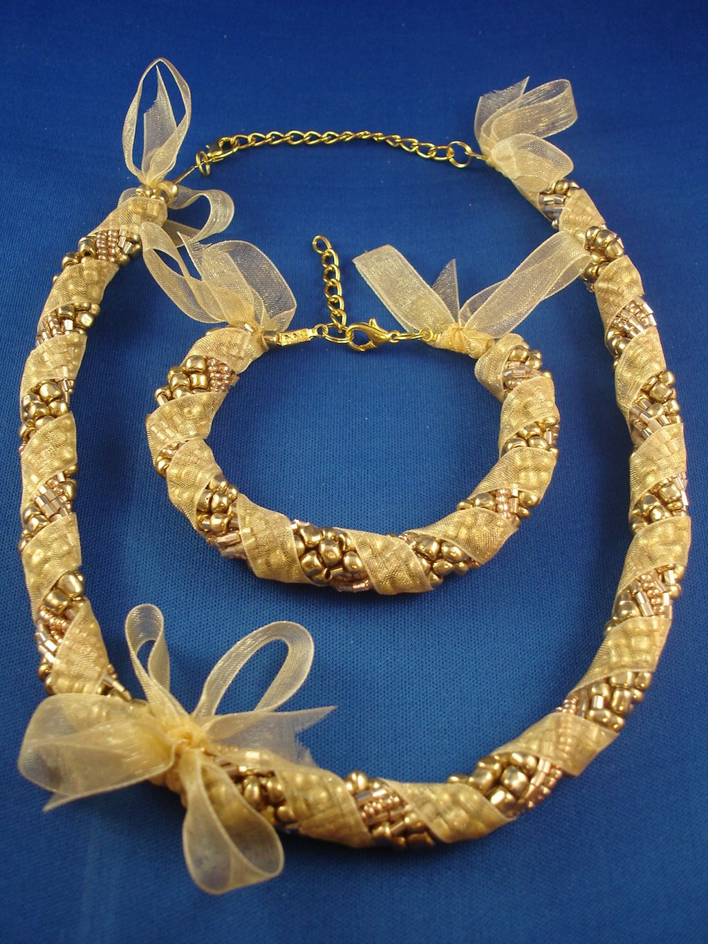 Yellow Ribbon Set of Necklace & Bracelet, Eight Twisted Strings of Beads, European Fashion Jewelry