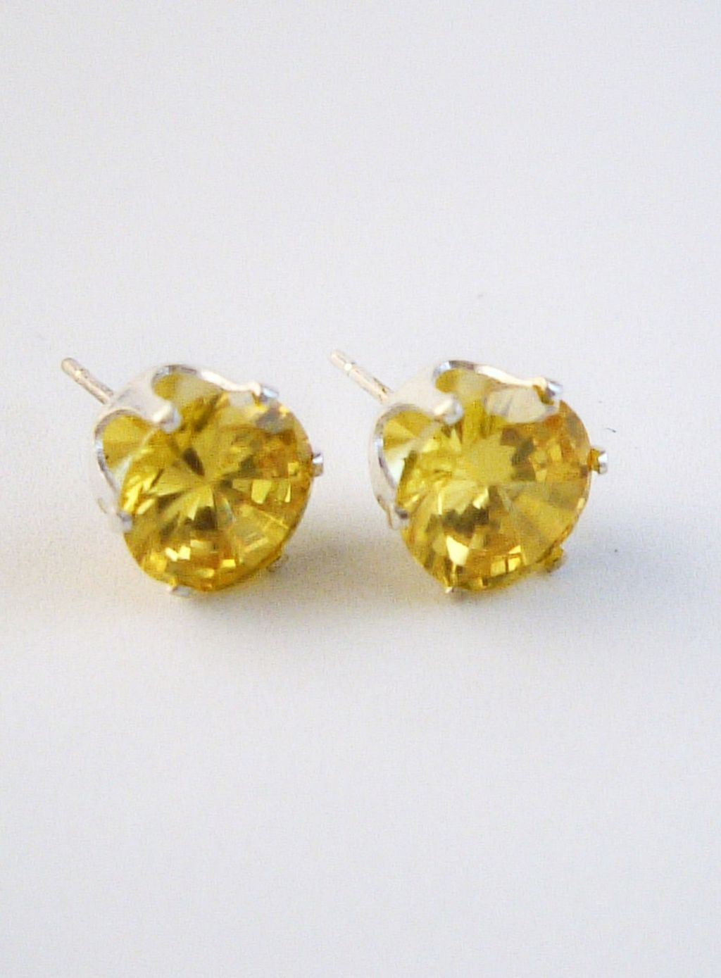 Yellow Sapphire Round Cut Silver Stud Earrings Genuine CZ Cubic Zirconia