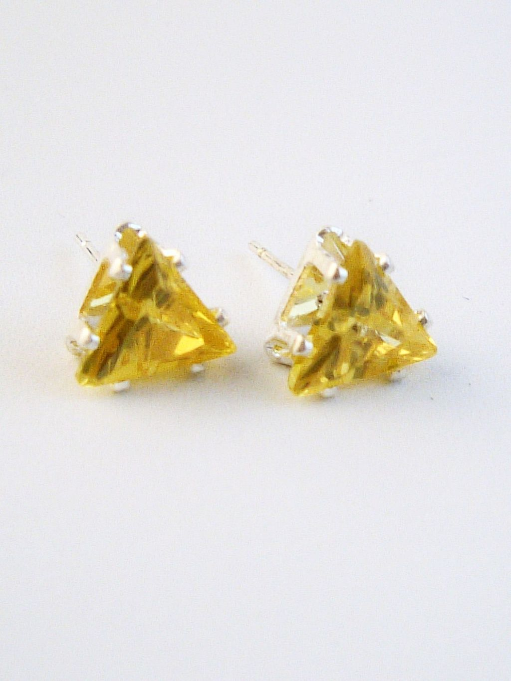 Yellow Sapphire Triangle Cut Silver Stud Earrings Genuine CZ Cubic Zirconia