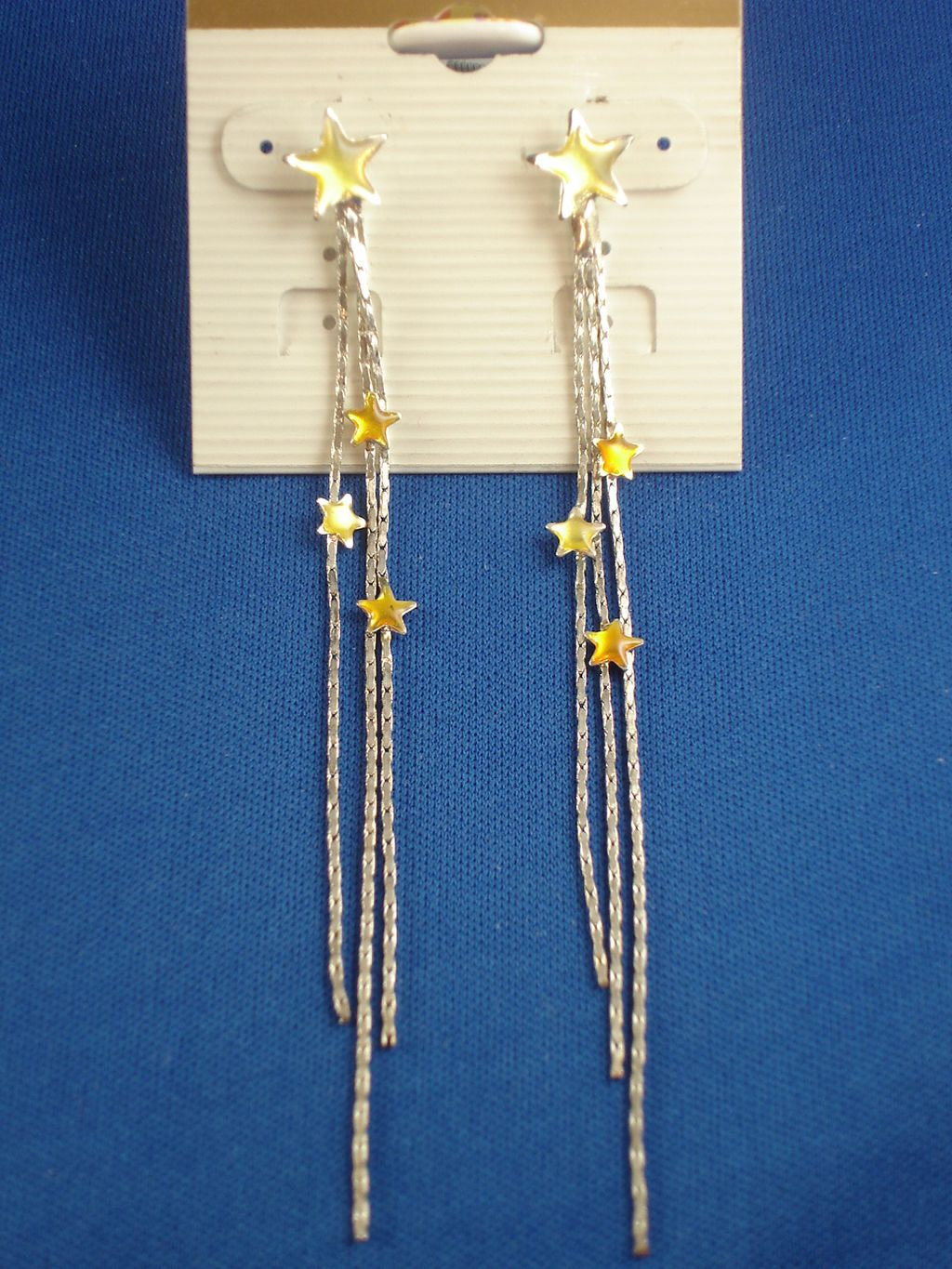 Yellow Stars Long Chain Post Earrings, Silver Tone Anti-allergic Metal
