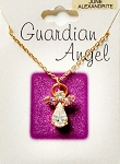 Alexandrite-June Birthstone Guardian Angel Pendant Necklace, Genuine Austrian Crystals