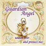 Crystal-April Birthstone Guardian Angel Pin, Genuine Austrian Crystals