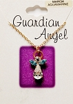 Aquamarine-March Birthstone Guardian Angel Pendant Necklace, Genuine Austrian Crystals