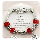 Aries Zodiac Sign Charm Bracelet, Pandora Inspired Beads