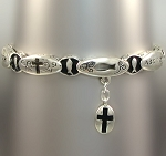 Ask for Faith Fish Inspirational Bracelet Cross Charm, Silver Plated