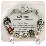 Capricorn Zodiac Sign Charm Bracelet, Pandora Inspired Beads