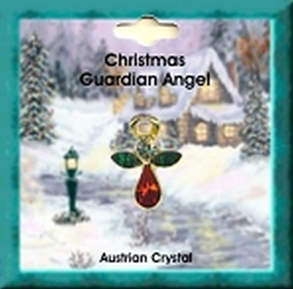 Christmas Angel Pin Gold Plated, Genuine Austrian Crystals