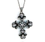 Clear Diamond Cross Pendant Necklace, Classic Vintage Style Silver/Glass