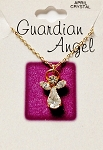 Crystal-April Birthstone Guardian Angel Pendant Necklace, Genuine Austrian Crystals