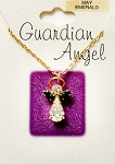 Emerald-May Birthstone Guardian Angel Pendant Necklace, Genuine Austrian Crystals