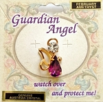 Amethyst-February Birthstone Guardian Angel Pin, Genuine Austrian Crystals